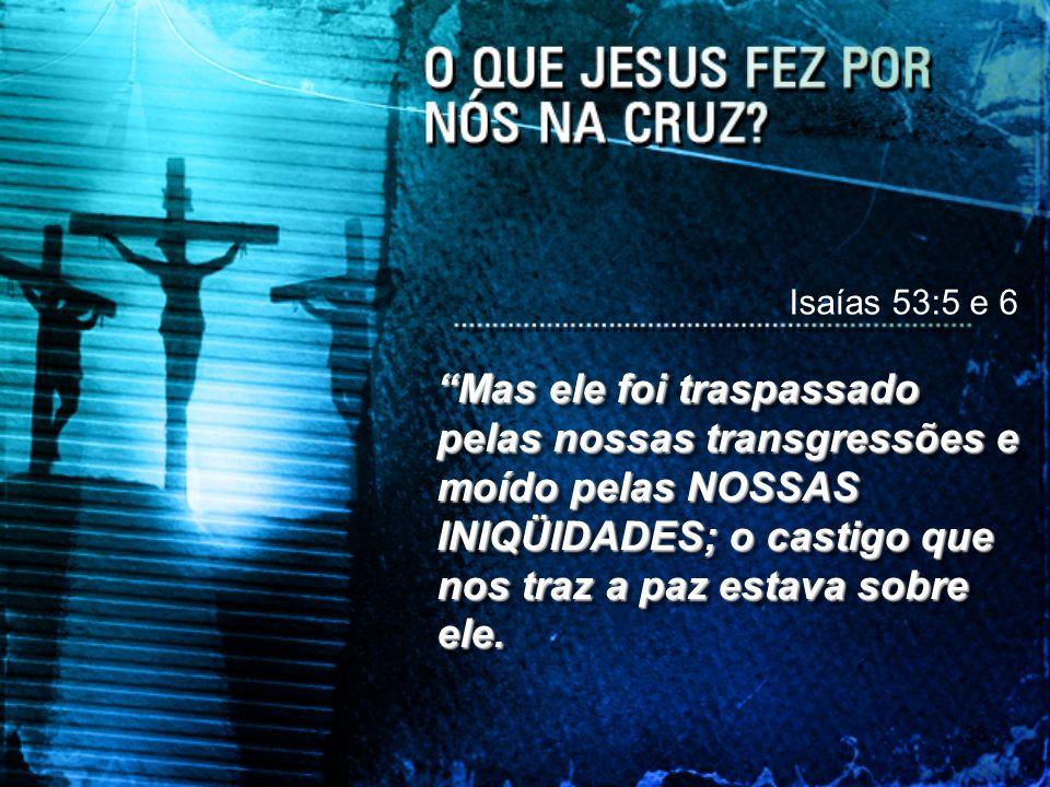 33 Isaías 53:5 e 6 Mas ele foi traspassado pelas nossas transgressões e moído pelas NOSSAS INIQÜIDADES; o castigo que nos traz a paz estava sobre ele.