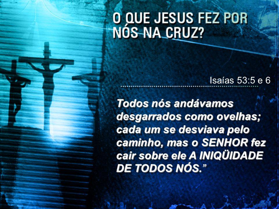 34 Isaías 53:5 e 6 Todos nós andávamos desgarrados como ovelhas; cada um se desviava pelo caminho, mas o SENHOR fez cair sobre ele A INIQÜIDADE DE TOD