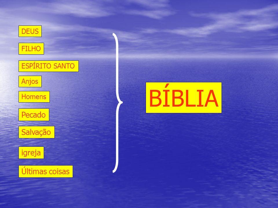 DEUS ESPÍRITO SANTO FILHO Anjos Homens Pecado Salvação igreja Últimas coisas BÍBLIA