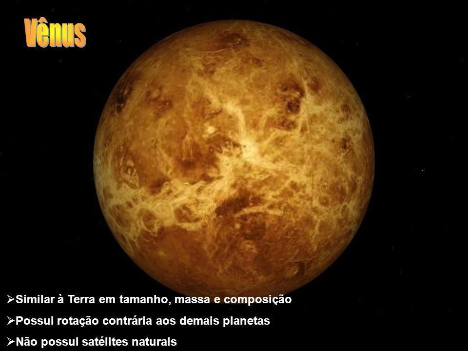 Similar à Terra em tamanho, massa e composição Possui rotação contrária aos demais planetas Não possui satélites naturais