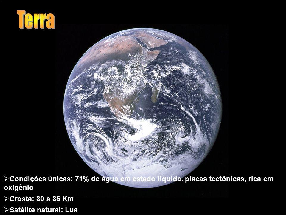 Condições únicas: 71% de água em estado líquido, placas tectônicas, rica em oxigênio Crosta: 30 a 35 Km Satélite natural: Lua