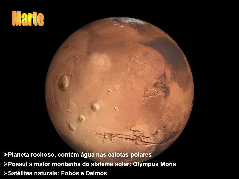 Planeta rochoso, contém água nas calotas polares Possui a maior montanha do sistema solar: Olympus Mons Satélites naturais: Fobos e Deimos