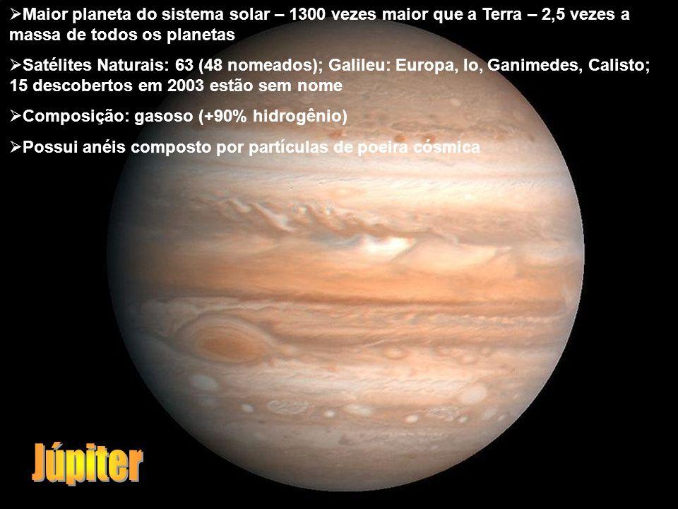 Maior planeta do sistema solar – 1300 vezes maior que a Terra – 2,5 vezes a massa de todos os planetas Satélites Naturais: 63 (48 nomeados); Galileu: