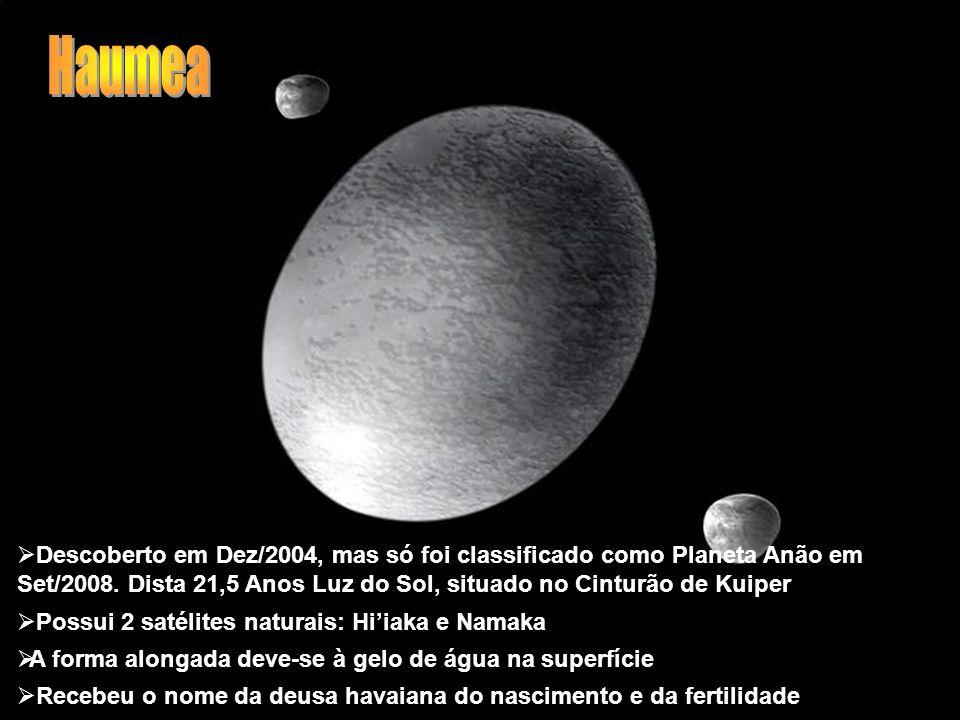 Descoberto em Dez/2004, mas só foi classificado como Planeta Anão em Set/2008. Dista 21,5 Anos Luz do Sol, situado no Cinturão de Kuiper Possui 2 saté