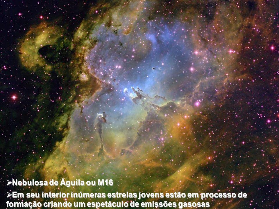 Nebulosa de Águila ou M16 Nebulosa de Águila ou M16 Em seu interior inúmeras estrelas jovens estão em processo de formação criando um espetáculo de em