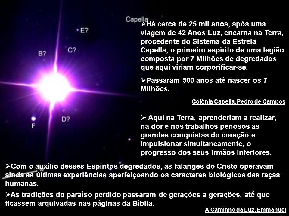 Colônia Capella, Pedro de Campos Há cerca de 25 mil anos, após uma viagem de 42 Anos Luz, encarna na Terra, procedente do Sistema da Estrela Capella,