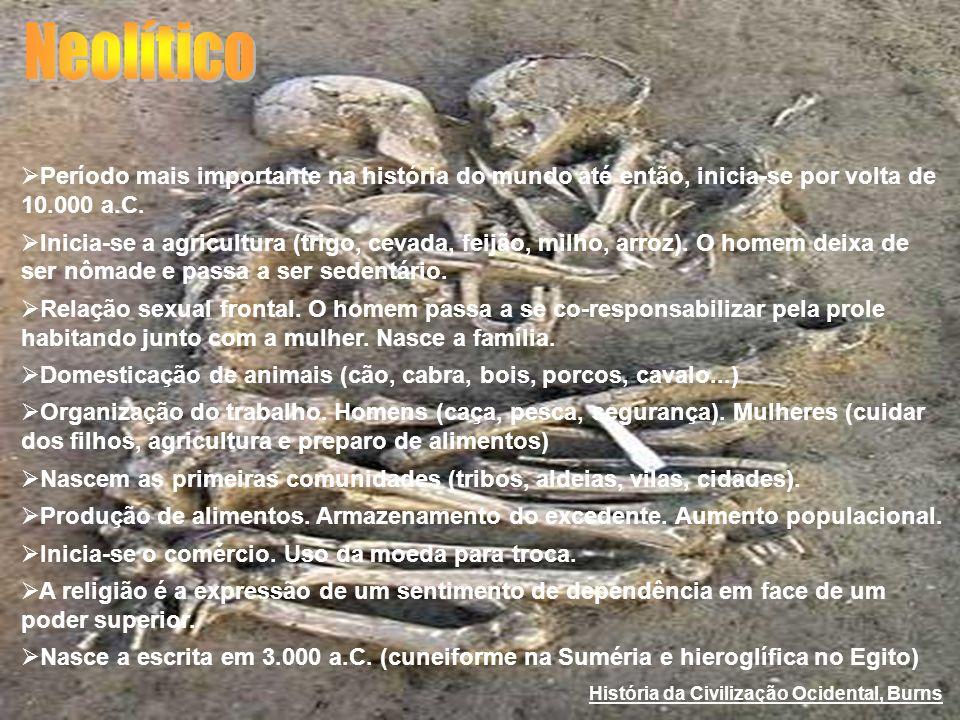 Período mais importante na história do mundo até então, inicia-se por volta de 10.000 a.C. Inicia-se a agricultura (trigo, cevada, feijão, milho, arro