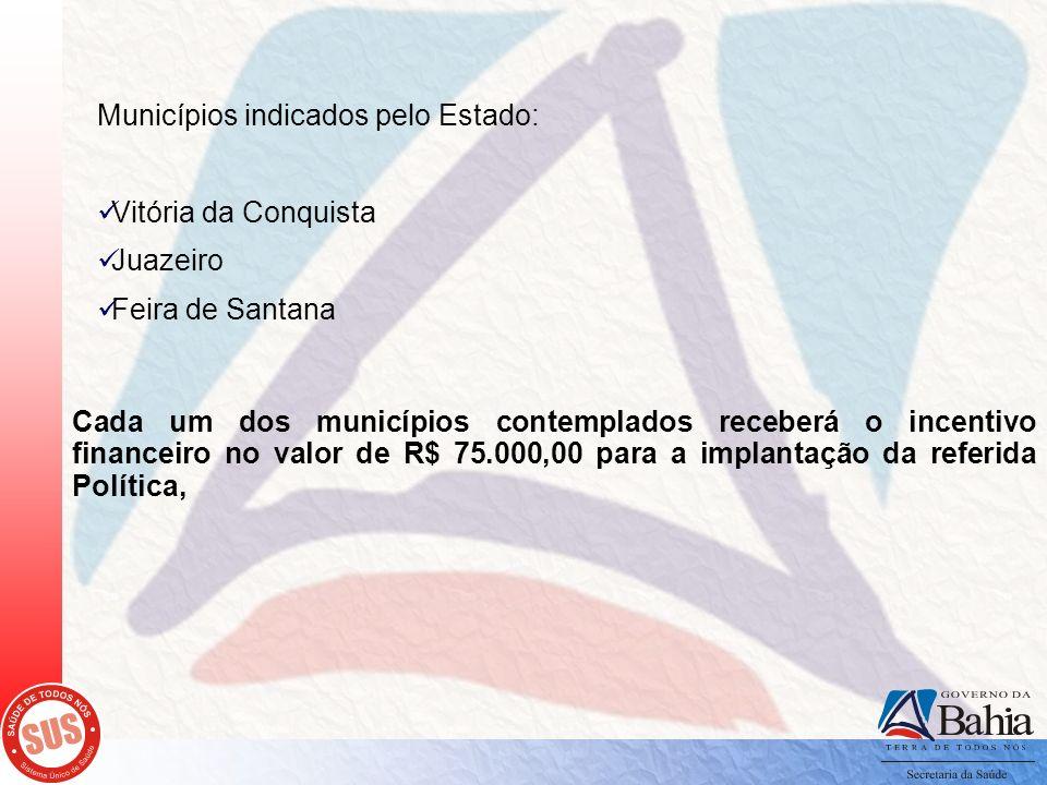 Municípios indicados pelo Estado: Vitória da Conquista Juazeiro Feira de Santana Cada um dos municípios contemplados receberá o incentivo financeiro n