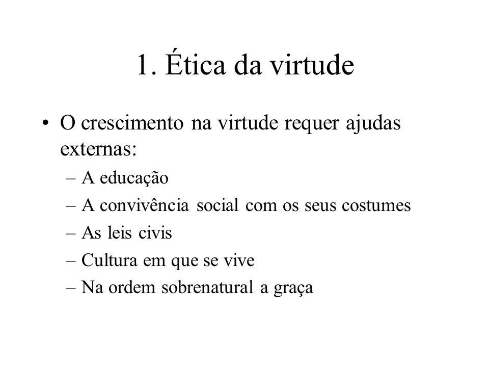 1. Ética da virtude O crescimento na virtude requer ajudas externas: –A educação –A convivência social com os seus costumes –As leis civis –Cultura em