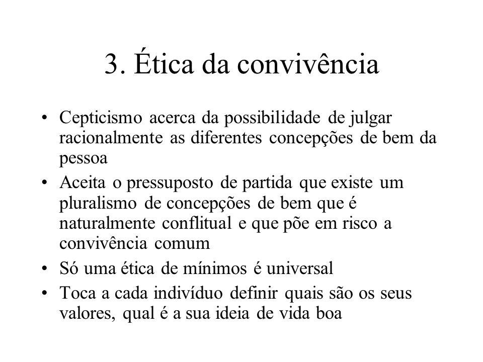 3. Ética da convivência Cepticismo acerca da possibilidade de julgar racionalmente as diferentes concepções de bem da pessoa Aceita o pressuposto de p