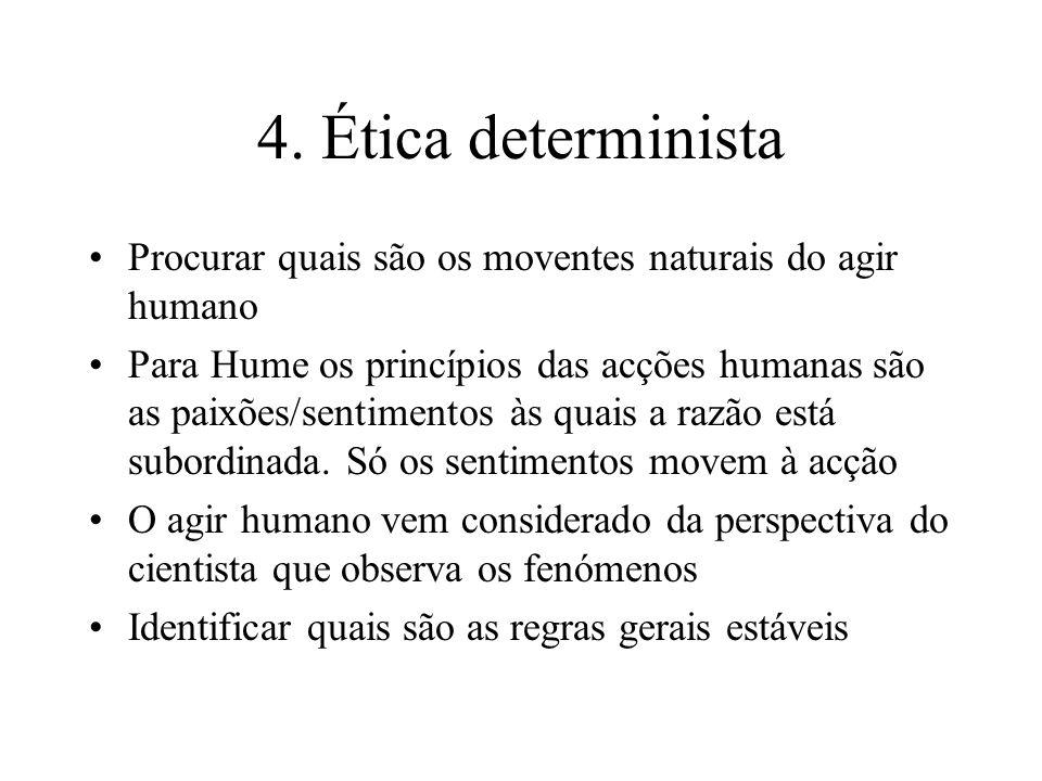 4. Ética determinista Procurar quais são os moventes naturais do agir humano Para Hume os princípios das acções humanas são as paixões/sentimentos às