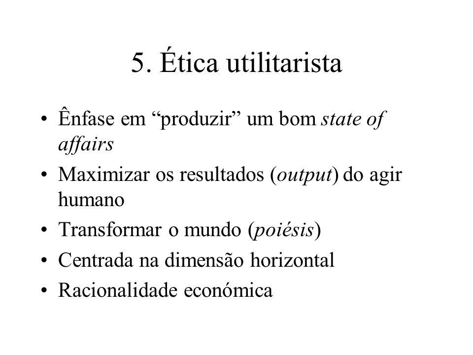 5. Ética utilitarista Ênfase em produzir um bom state of affairs Maximizar os resultados (output) do agir humano Transformar o mundo (poiésis) Centrad