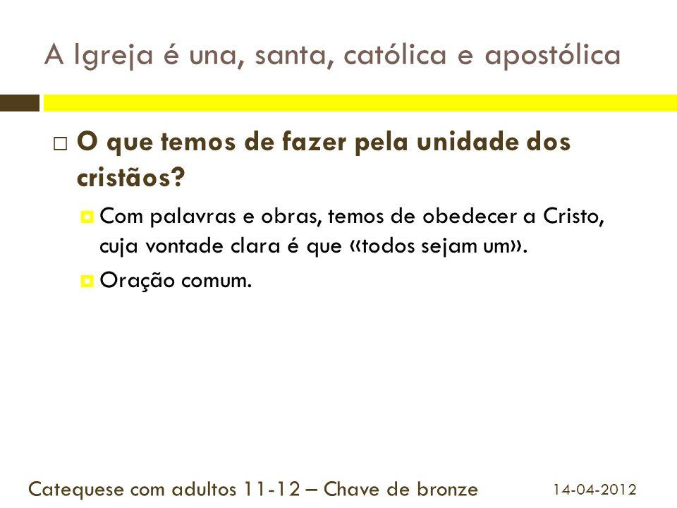 A Igreja é una, santa, católica e apostólica O que temos de fazer pela unidade dos cristãos? Com palavras e obras, temos de obedecer a Cristo, cuja vo