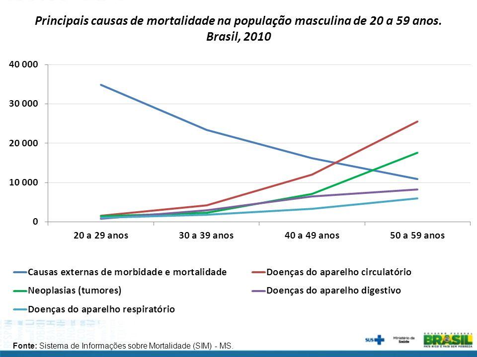 Principais causas de mortalidade na população masculina de 20 a 59 anos. Brasil, 2010
