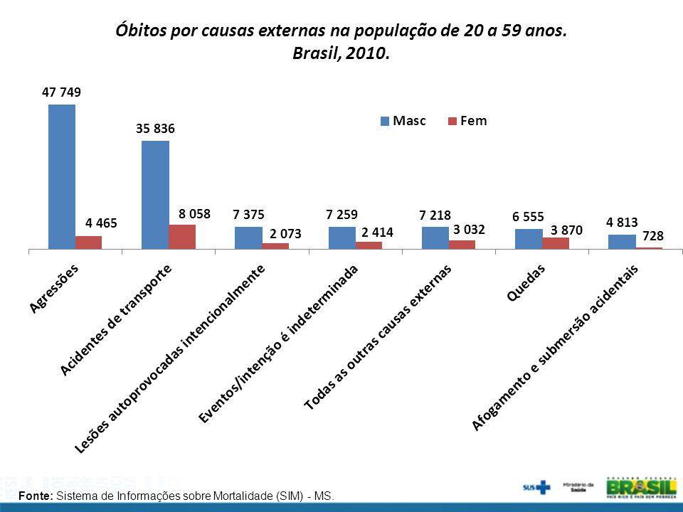 Fonte: Sistema de Informações sobre Mortalidade (SIM) - MS. Óbitos por causas externas na população de 20 a 59 anos. Brasil, 2010.