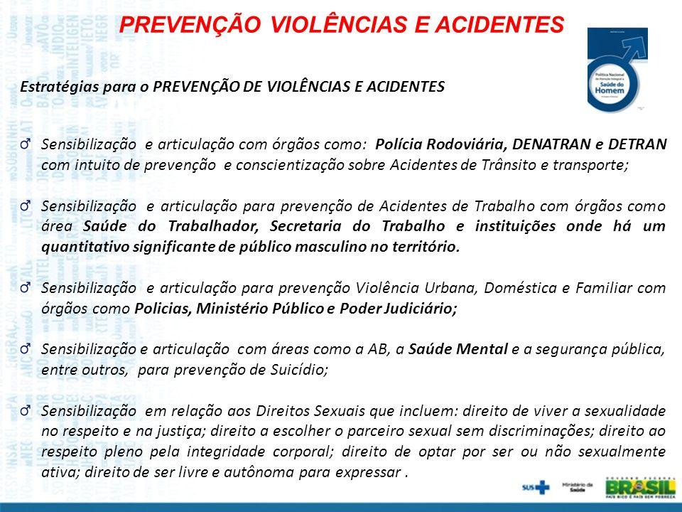 PREVENÇÃO VIOLÊNCIAS E ACIDENTES Sensibilização e articulação com órgãos como: Polícia Rodoviária, DENATRAN e DETRAN com intuito de prevenção e consci
