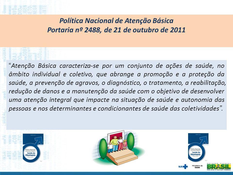 Política Nacional de Atenção Básica Portaria nº 2488, de 21 de outubro de 2011 Atenção Básica caracteriza-se por um conjunto de ações de saúde, no âmb