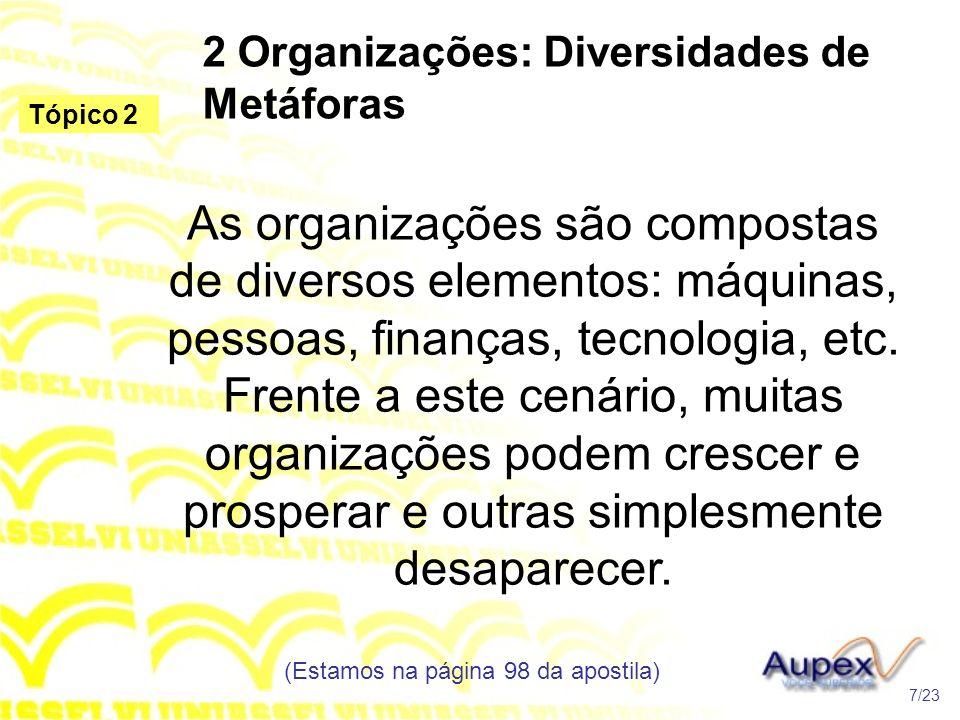 2 Organizações: Diversidades de Metáforas As organizações são compostas de diversos elementos: máquinas, pessoas, finanças, tecnologia, etc. Frente a