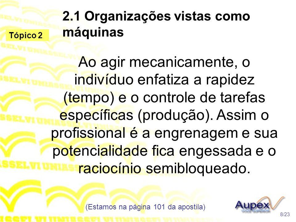 2.1 Organizações vistas como máquinas Ao agir mecanicamente, o indivíduo enfatiza a rapidez (tempo) e o controle de tarefas específicas (produção). As