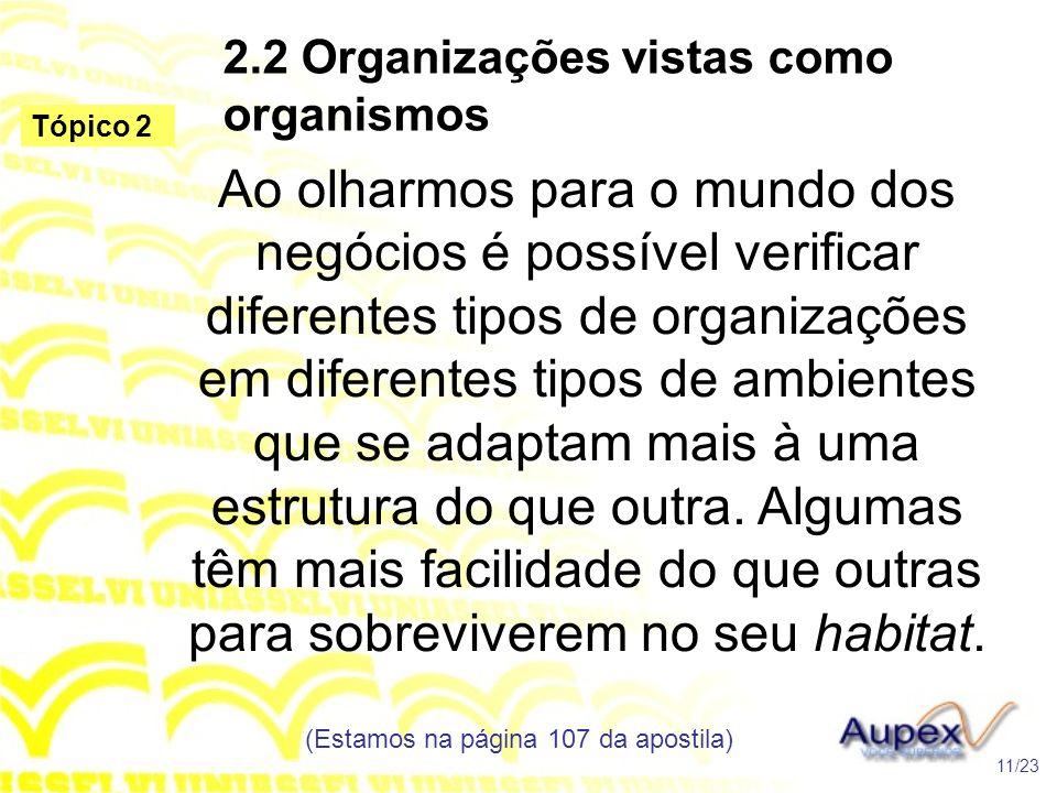 2.2 Organizações vistas como organismos Ao olharmos para o mundo dos negócios é possível verificar diferentes tipos de organizações em diferentes tipo