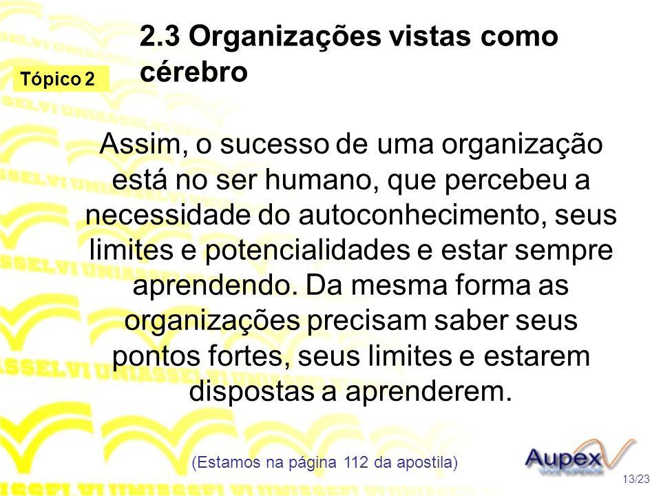 2.3 Organizações vistas como cérebro Assim, o sucesso de uma organização está no ser humano, que percebeu a necessidade do autoconhecimento, seus limi