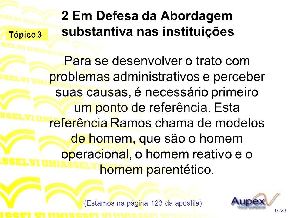 2 Em Defesa da Abordagem substantiva nas instituições Para se desenvolver o trato com problemas administrativos e perceber suas causas, é necessário p