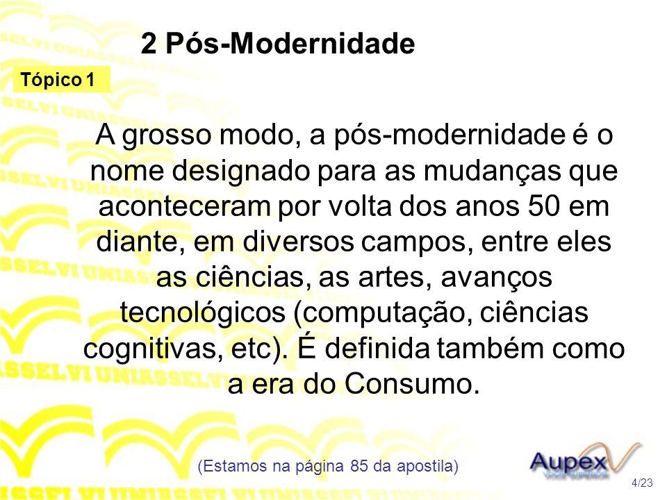 2 Pós-Modernidade A grosso modo, a pós-modernidade é o nome designado para as mudanças que aconteceram por volta dos anos 50 em diante, em diversos ca