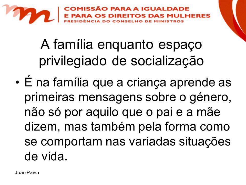 João Paiva A família enquanto espaço privilegiado de socialização É na família que a criança aprende as primeiras mensagens sobre o género, não só por