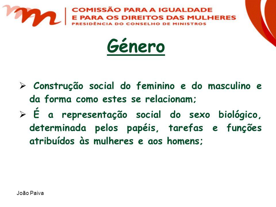 João Paiva Género Construção social do feminino e do masculino e da forma como estes se relacionam; É a representação social do sexo biológico, determ