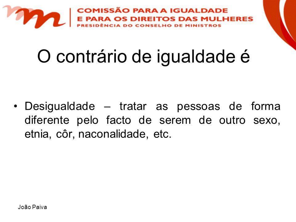 João Paiva O contrário de igualdade é Desigualdade – tratar as pessoas de forma diferente pelo facto de serem de outro sexo, etnia, côr, naconalidade,