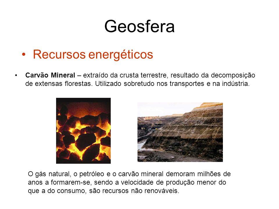 Geosfera Recursos minerais metálicos São explorados para a obtenção de um metal.
