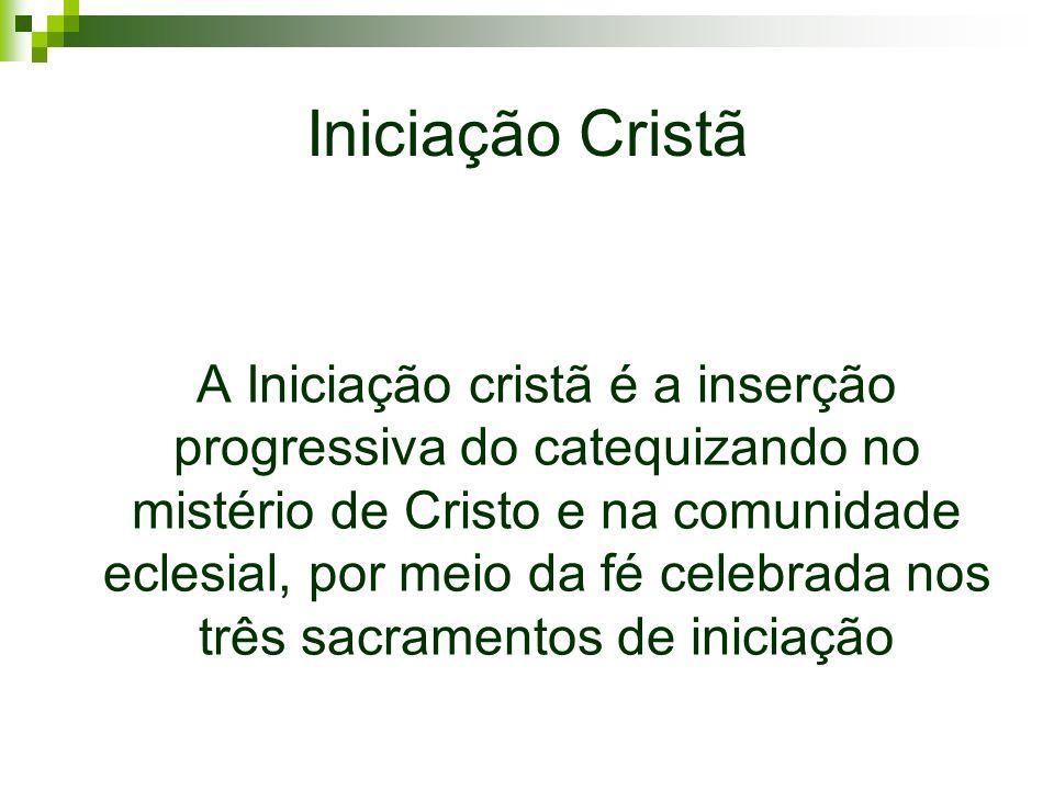 Iniciação Cristã A Iniciação cristã é a inserção progressiva do catequizando no mistério de Cristo e na comunidade eclesial, por meio da fé celebrada