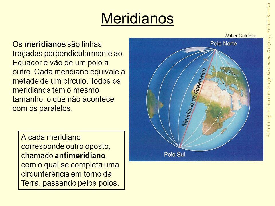 Parte integrante da obra Geografia homem & espaço, Editora Saraiva Meridianos Os meridianos são linhas traçadas perpendicularmente ao Equador e vão de