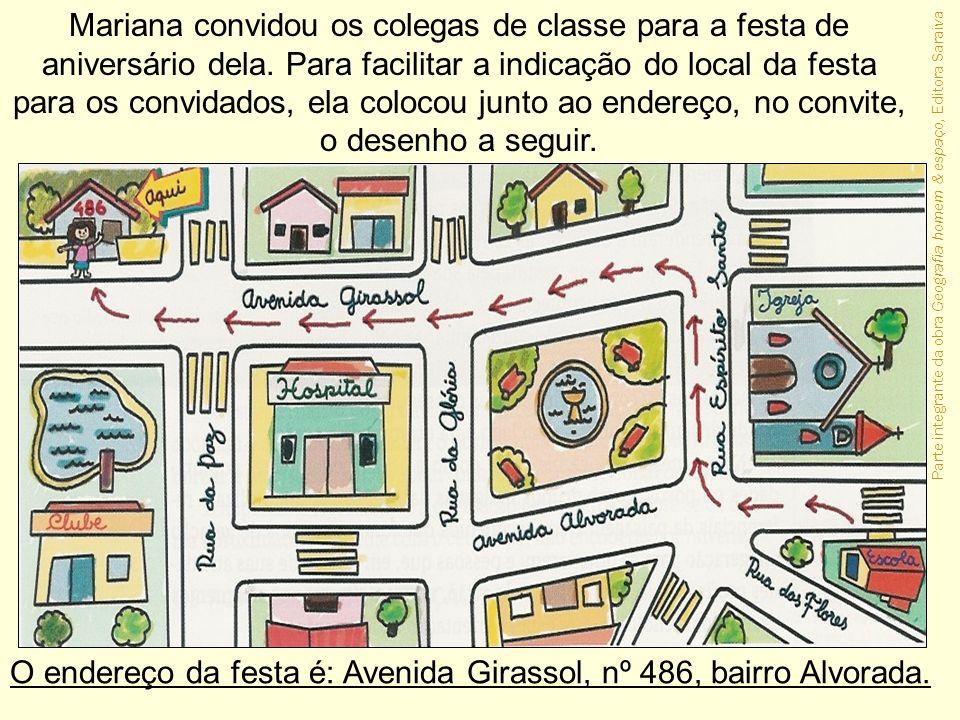 Parte integrante da obra Geografia homem & espaço, Editora Saraiva Mariana convidou os colegas de classe para a festa de aniversário dela. Para facili