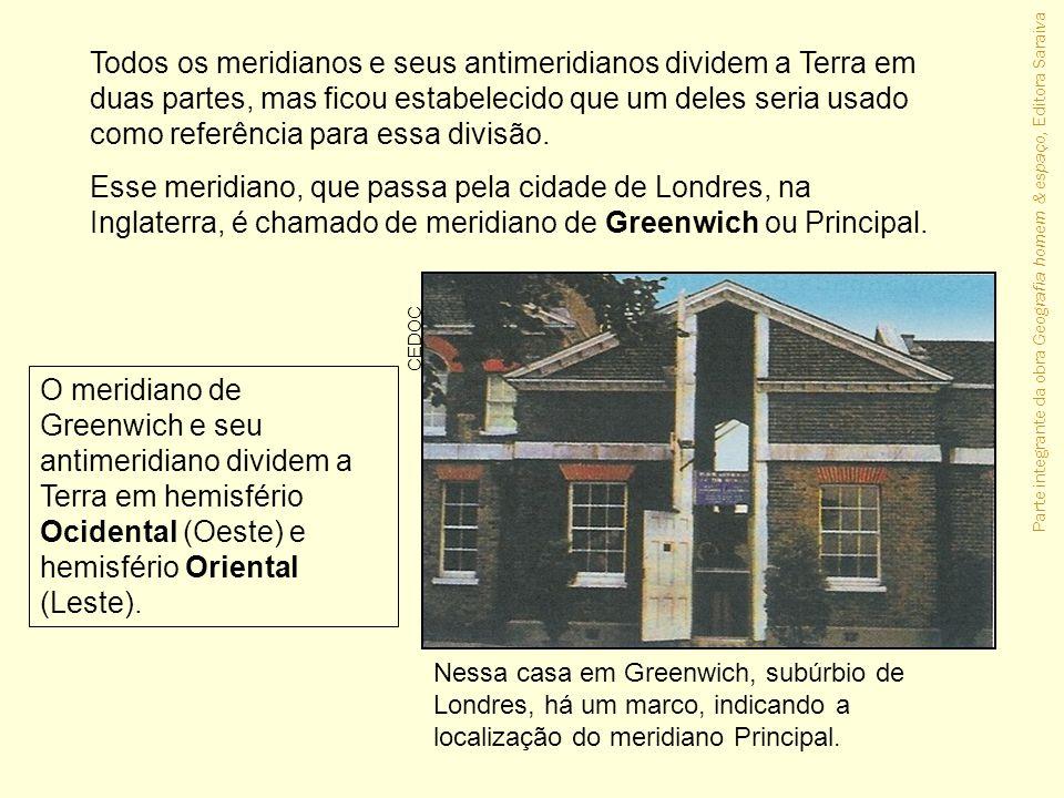 Parte integrante da obra Geografia homem & espaço, Editora Saraiva Nessa casa em Greenwich, subúrbio de Londres, há um marco, indicando a localização