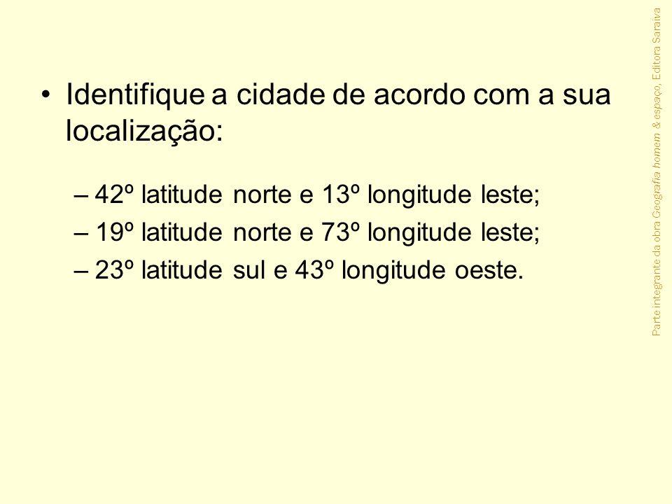 Identifique a cidade de acordo com a sua localização: –42º latitude norte e 13º longitude leste; –19º latitude norte e 73º longitude leste; –23º latit