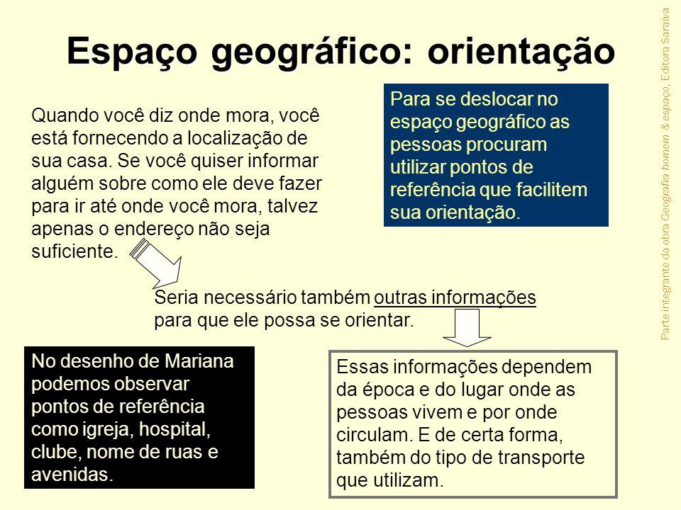 Parte integrante da obra Geografia homem & espaço, Editora Saraiva Espaço geográfico: orientação Quando você diz onde mora, você está fornecendo a loc