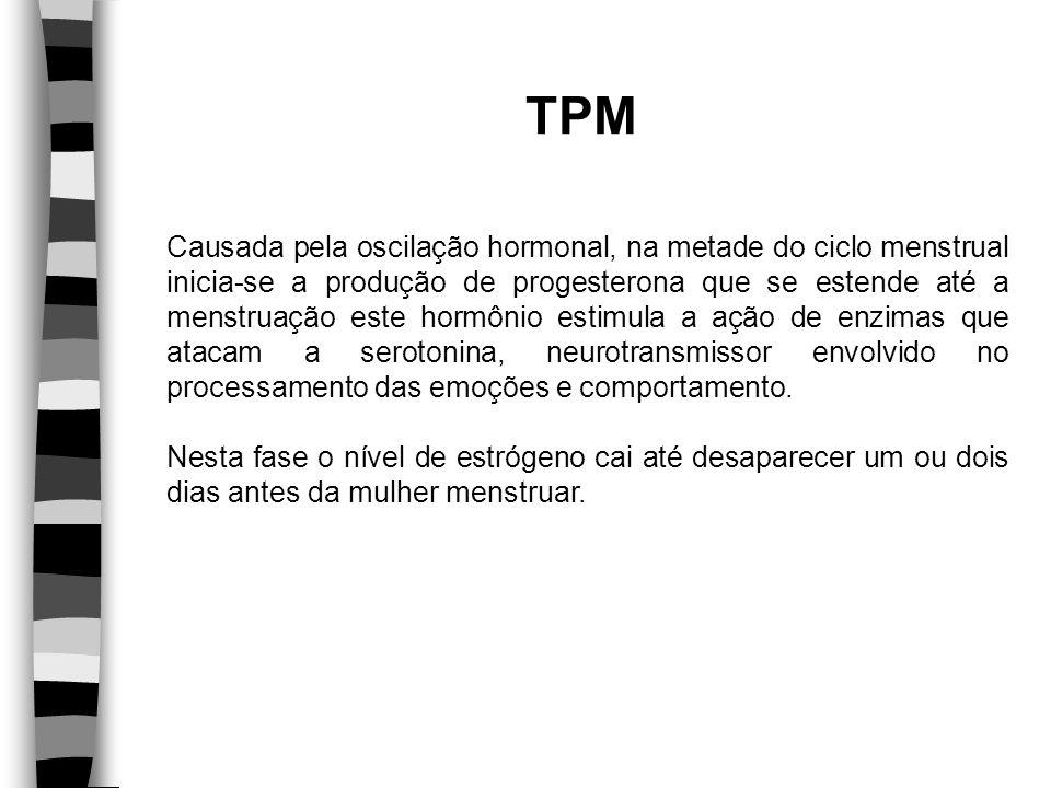 TPM Causada pela oscilação hormonal, na metade do ciclo menstrual inicia-se a produção de progesterona que se estende até a menstruação este hormônio