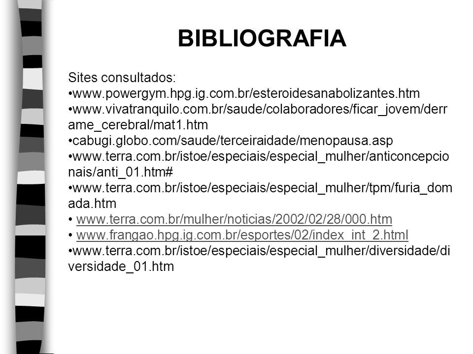 BIBLIOGRAFIA Sites consultados: www.powergym.hpg.ig.com.br/esteroidesanabolizantes.htm www.vivatranquilo.com.br/saude/colaboradores/ficar_jovem/derr a