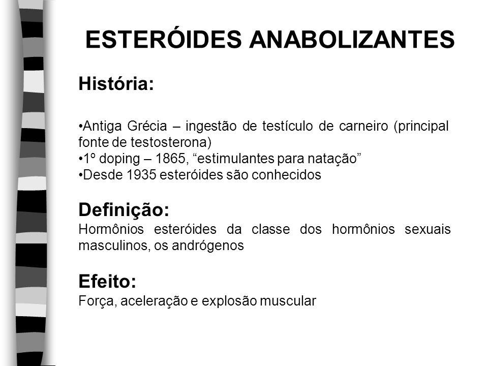 História: Antiga Grécia – ingestão de testículo de carneiro (principal fonte de testosterona) 1º doping – 1865, estimulantes para natação Desde 1935 e