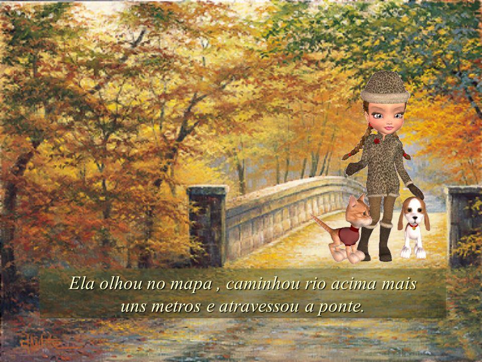 Ela olhou no mapa, caminhou rio acima mais uns metros e atravessou a ponte.