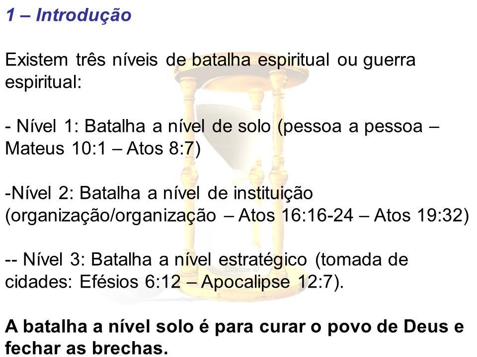 1 – Introdução Existem três níveis de batalha espiritual ou guerra espiritual: - Nível 1: Batalha a nível de solo (pessoa a pessoa – Mateus 10:1 – Ato
