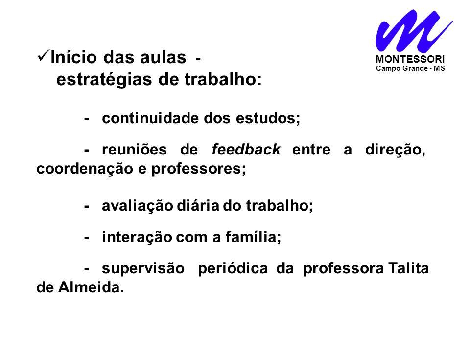 Início das aulas - estratégias de trabalho: - continuidade dos estudos;. - reuniões de feedback entre a direção, coordenação e professores;.. - avalia