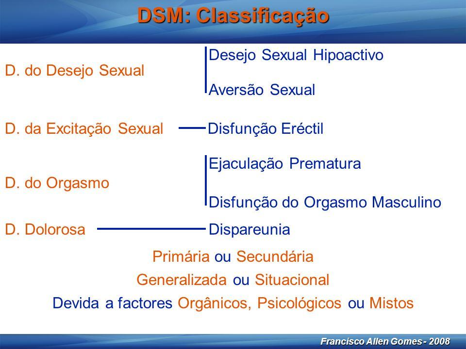 13 Francisco Allen Gomes - 2008 DSM: Classificação Desejo Sexual Hipoactivo Aversão Sexual D.