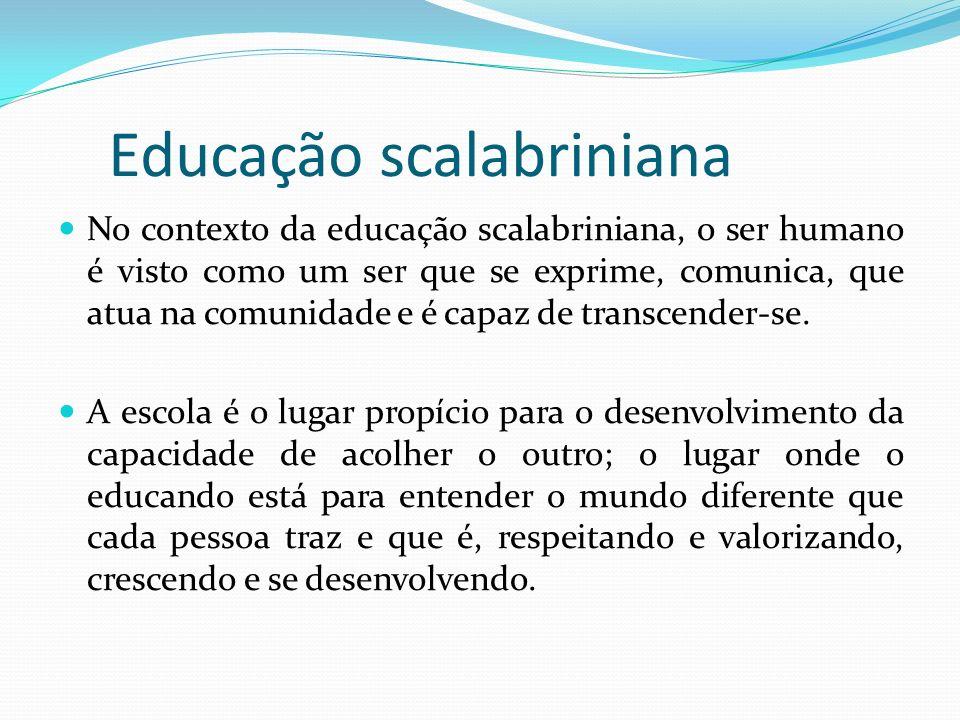 Educação scalabriniana No contexto da educação scalabriniana, o ser humano é visto como um ser que se exprime, comunica, que atua na comunidade e é ca
