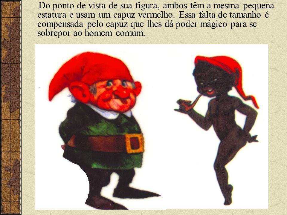 Do ponto de vista de sua figura, ambos têm a mesma pequena estatura e usam um capuz vermelho.