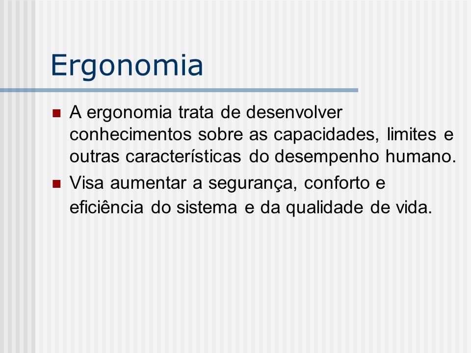 Ergonomia A ergonomia trata de desenvolver conhecimentos sobre as capacidades, limites e outras características do desempenho humano. Visa aumentar a