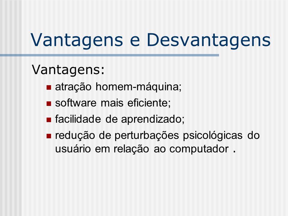Vantagens e Desvantagens Vantagens: atração homem-máquina; software mais eficiente; facilidade de aprendizado; redução de perturbações psicológicas do