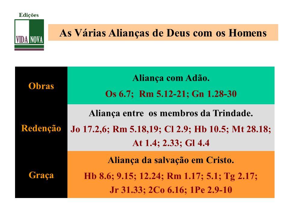 As Várias Alianças de Deus com os Homens Obras Aliança com Adão. Os 6.7; Rm 5.12-21; Gn 1.28-30 Redenção Aliança entre os membros da Trindade. Jo 17.2