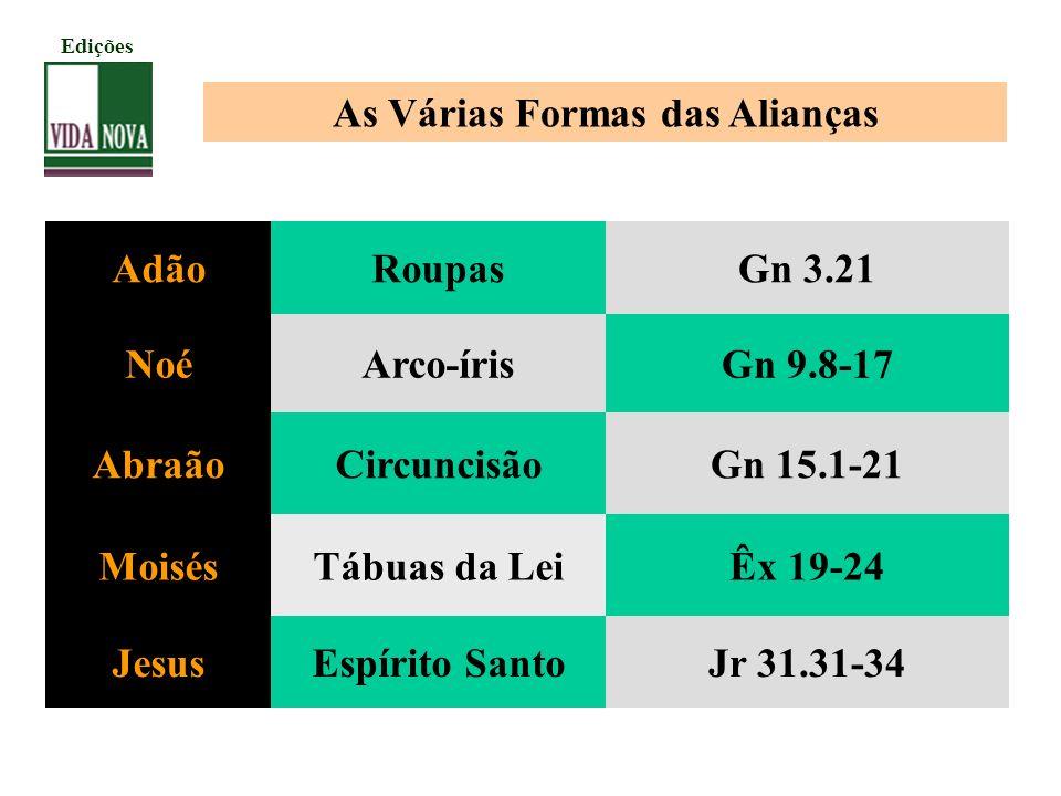 As Várias Formas das Alianças AdãoRoupasGn 3.21 NoéArco-írisGn 9.8-17 AbraãoCircuncisãoGn 15.1-21 MoisésTábuas da LeiÊx 19-24 JesusEspírito SantoJr 31